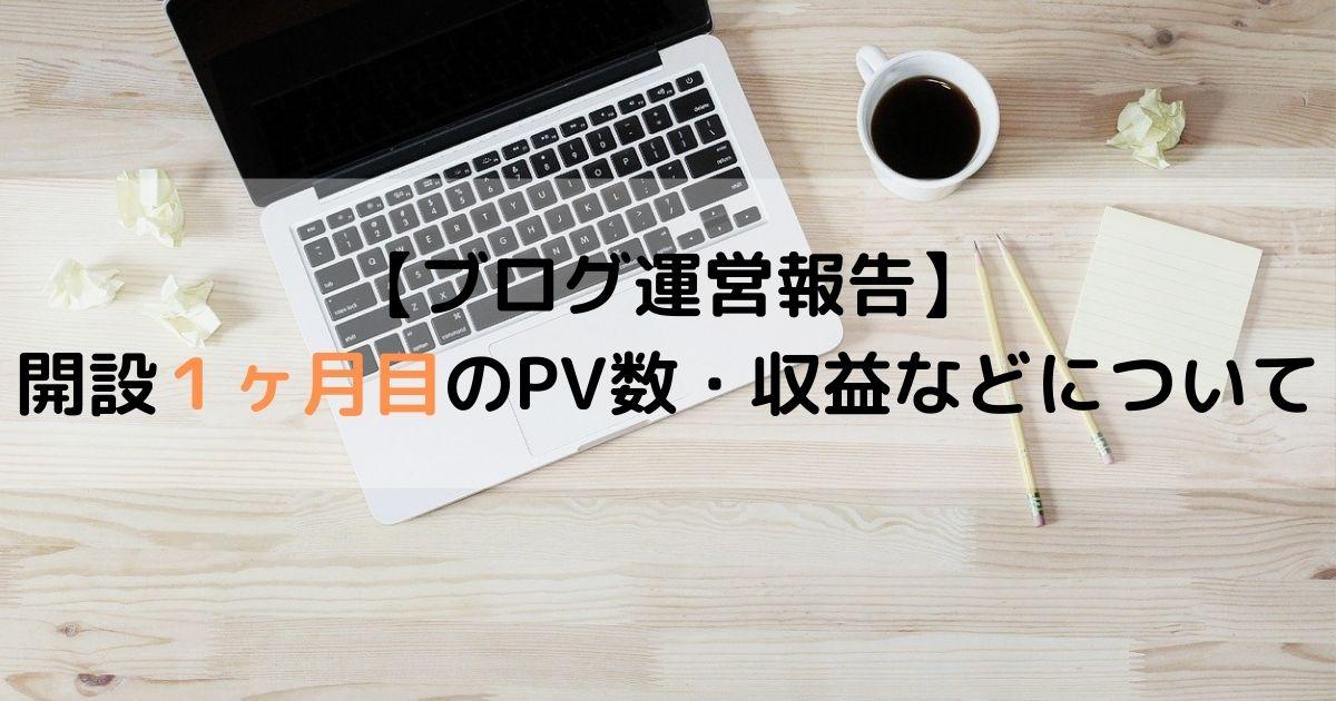 【ブログ運営報告】 開設1ヶ月目のPV数・収益などについて