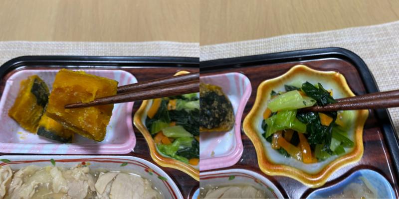 左:ごま南瓜 右:チンゲン菜のソテー